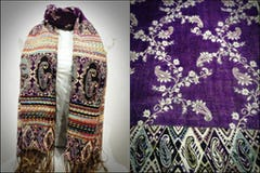 Thai Traditional Hand Made Silk Shawl Scarf Grape