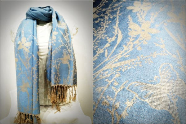 Nepal Hand Made Pashmina Shawl Scarf Light Blue