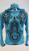 Sure Design Unisex Three Hands Hoodie Turquoise