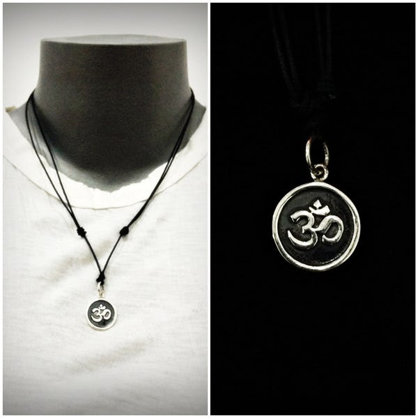 Sterling Silver Thai  Necklace Pendant Solid Om Circle Black