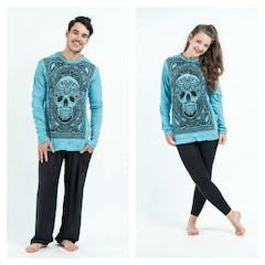 Sure Design Unisex Octopus Long Sleeve Shirts Turquoise