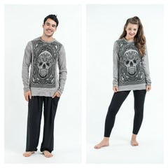 Sure Design Unisex Tree Of Life Long Sleeve Shirts Silver on Black