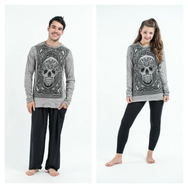 Sure Design Unisex Trippy Skull Long Sleeve Shirt Gray