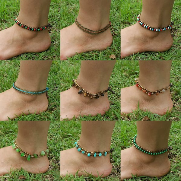 Hand Made Fair Trade Anklet Three Strand Beads Black
