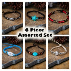 Assorted 4 Pieces Set Thai Waxed String Bracelets with Silver Beads