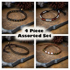 Assorted 4 Piece Set Hand Made Thai Waxed Cotton Woven Bracelet With Beads