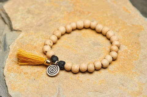 Tibetan Natural Bodhi Beads and Black Lava Stones Bracelet with Spiral Charm