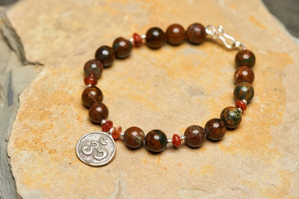 Hand Made Tibetan Ohm Mala Bracelet With Carnelian And Jasper Beads