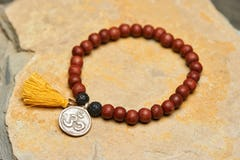 Sacred Leaf Silver Charm With Budhi Wooden Beads From Nepal
