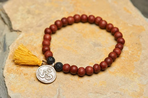Tibetan Brown Bodhi Beads and Black Lava Stones Bracelet with Om Charm