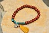 Handmade Tibetan Wooden Mala Beads & Turquoise Silver Bracelet with Elephant Charm