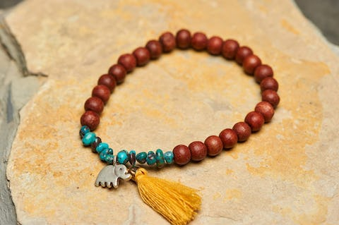 Tibetan Bodhi Beads and Turquoise Stones Bracelet with Elephant Charm