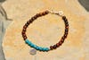 Hand made Tribal Turquoise and Red Tiger Eye Bracelet With Silver Charm
