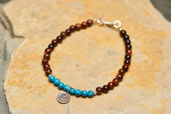 "Hand made Tribal Turquoise and Red Tiger Eye Bracelet With Silver Charm ""Om"""