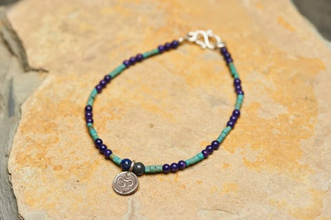 Hand Made Tibetan Ohm Mala Bracelet With Lapis And Turquoise Beads