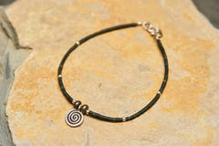 Spiral Tribal Silver Charm With Budhi Wooden Beads From Nepal