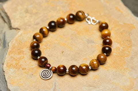 Tibetan Tiger Eye Stones Bracelet with Spiral Charm