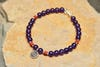 Hand Made Tibetan Swirl Mala Bracelet With Coral And Amethyst Beads