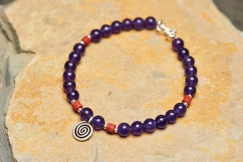 Tibetan Amethyst and Coral Stones Bracelet with Om Charm