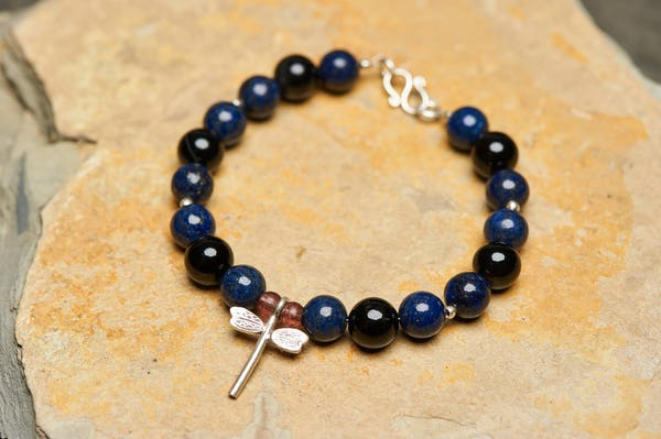 Hand Made Tibetan Dragon Fly Mala Bracelet With Lapis lazuli Beads