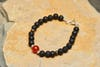 Hand Made Tibetan Carnelian Mala Bracelet With Black Lava Beads