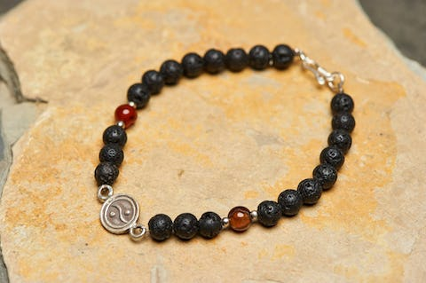 Tibetan Black Lava and Carnelian Stones Bracelet with Yin Yang Charm