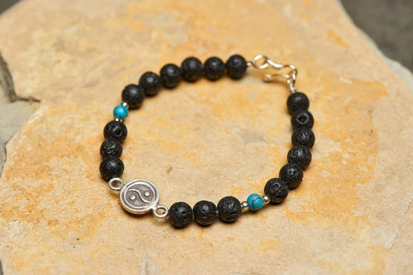 Tibetan Black Lava and Turquoise Stones Bracelet with Yin Yang Charm