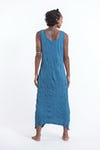 Womens Lotus Mandala Long Tank Dress in Denim Blue
