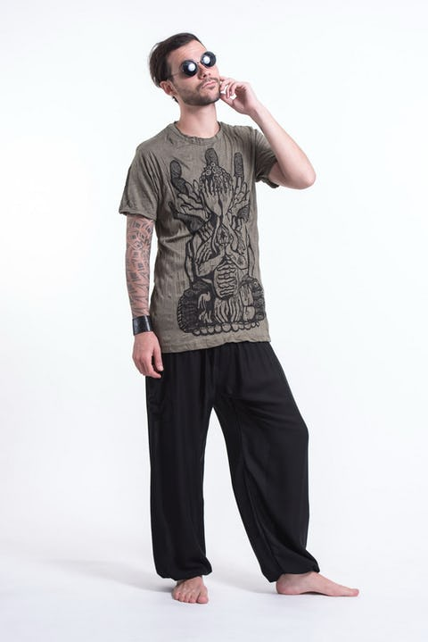 Mens See No Evil Buddha T-Shirt in Green