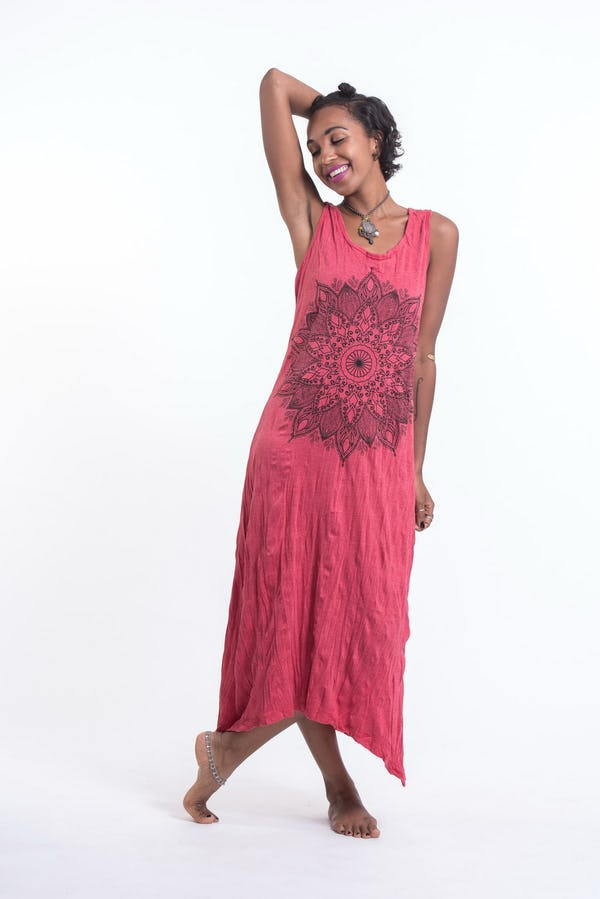 Womens Lotus Mandala Long Tank Dress in Red