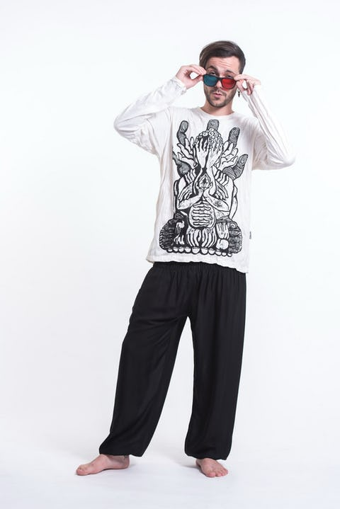Unisex See No Evil Buddha Long Sleeve T-Shirt in White