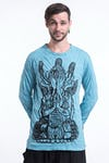Unisex See No Evil Buddha Long Sleeve T-Shirt in Turquoise