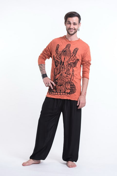 Unisex See No Evil Buddha Long Sleeve T-Shirt in Orange