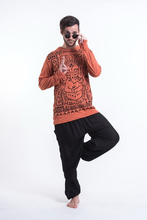 Unisex Shanti Ganesh Long Sleeve T-Shirt in Orange