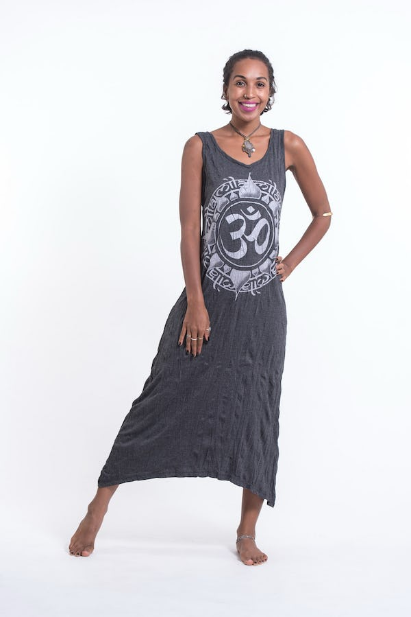 Sure Design Womens Infinitee Ohm Scoop Neck Tank Dress Silver on Black