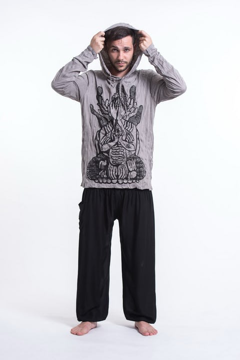 Unisex See No Evil Buddha Hoodie in Gray