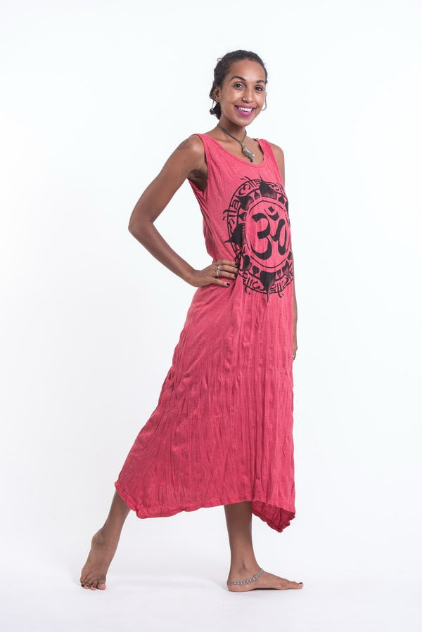 Womens Infinitee Om Long Tank Dress in Red