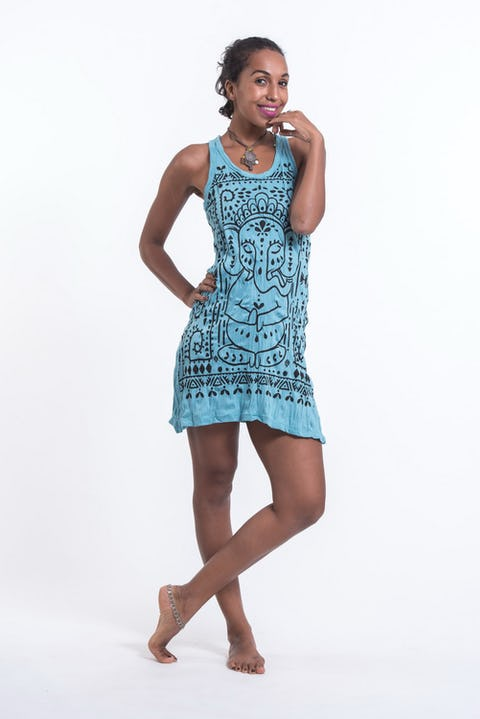 Sure Design Womens Shanti Ganesha Tank Dress Turquoise