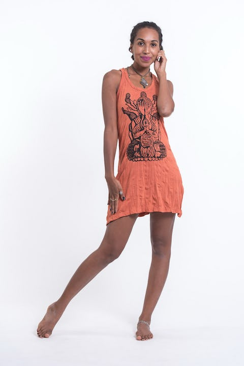 Sure Design Womens See No Evil Buddha Tank Dress Orange