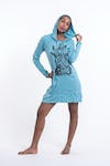 Sure Design Womens See No Evil Buddha Hoodie Dress Turquoise