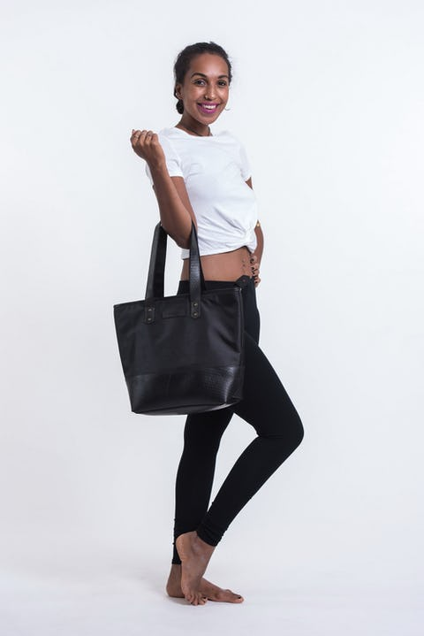 Upcycled Tote Bag Rubber Canvas Black