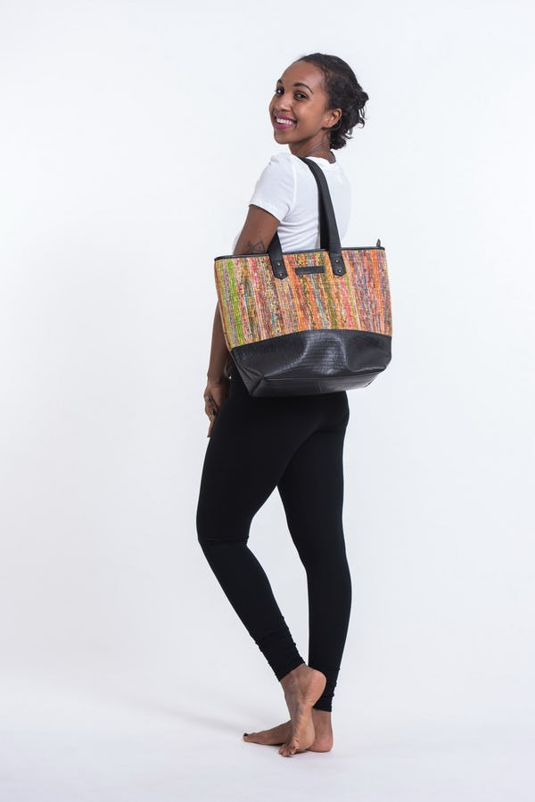 Upcycled Tote Bag Rubber Canvas Multi