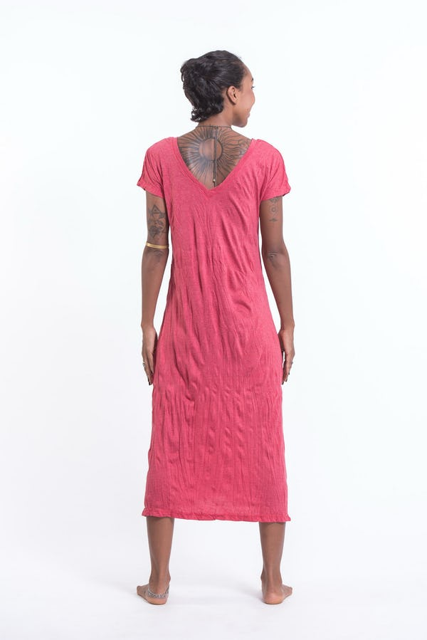 Sure Design Womens Infinitee Ohm V Neck Tee Dress Red