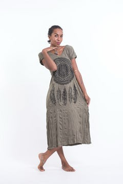 Womens Tree of Life V Neck Long Dress in Silver on Black