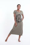 Womens Infinitee Om V Neck Long Dress in Green