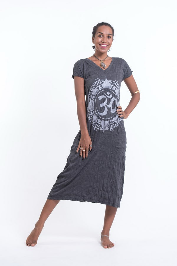 Sure Design Womens Infinitee Ohm V Neck Tee Dress Silver on Black