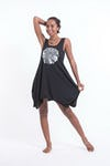 Super Soft Cotton Mandala Tank Dress Silver on Black