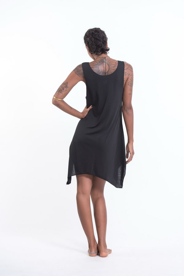 Super Soft Cotton Sun Moon Ohm Tank Dress Silver on Black