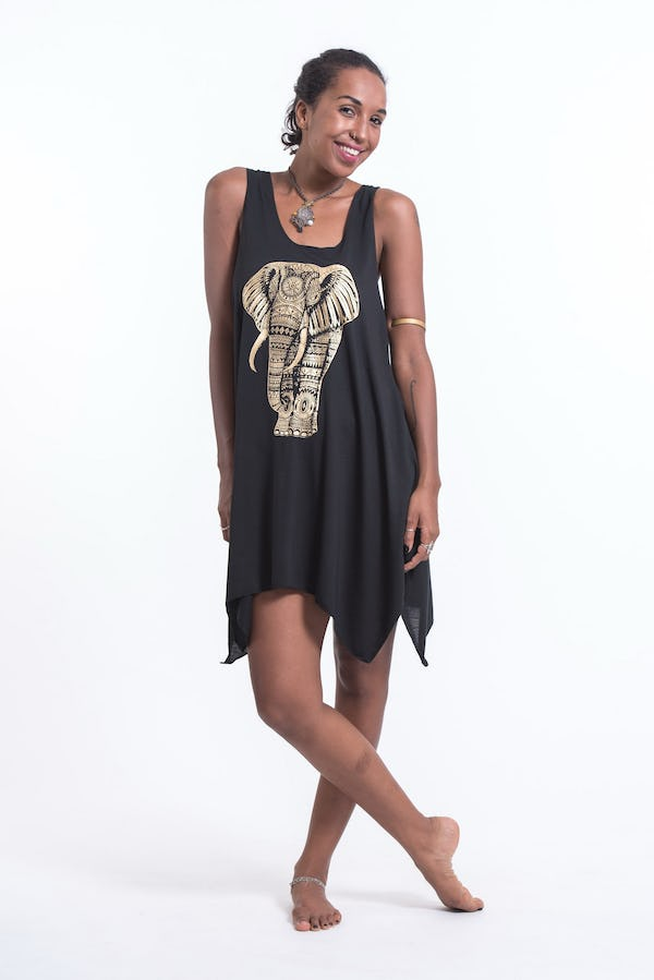 Womens Tribal Elephant Tank Dress in Gold on Black