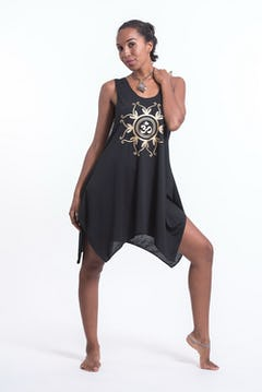 Super Soft Cotton Fatima Hand Tank Dress Silver on Black